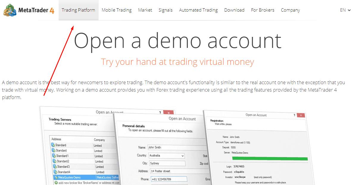 meta trader 4 demo account
