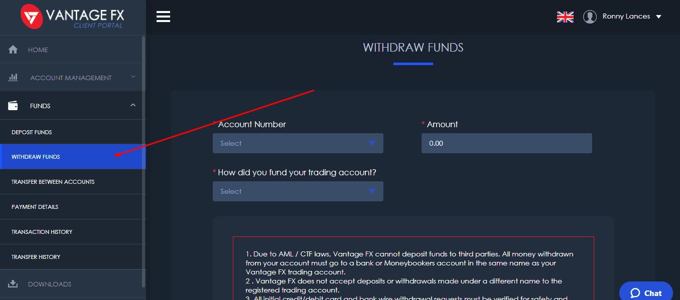 Vantage fx withdraw